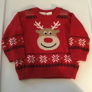 Koala Baby Boys Red Reindeer Sweater. Size 12mnths